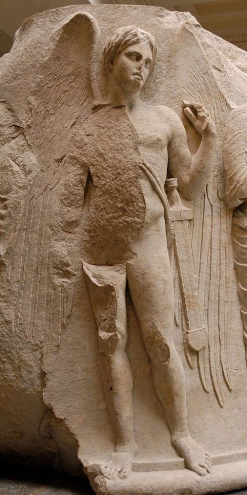 Winged youth with a sword, probably Thanatos, personification of death. Detail of a sculptured marble column drum from the Temple of Artemis at Ephesos, ca. 325-300 BC.